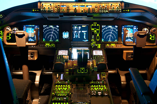inside a flight simulator - cockpit stock photos and pictures