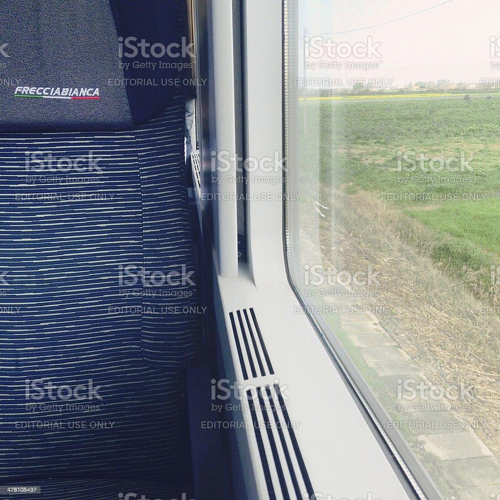 Inside a Frecciabianca high-speed train stock photo