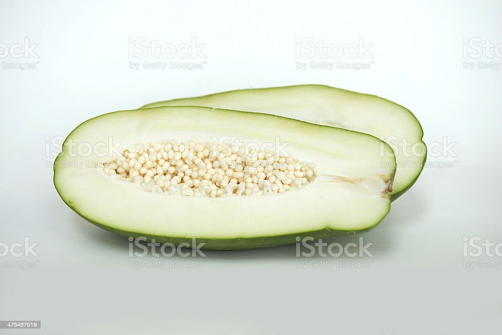 Inside a Green Papaya stock photo