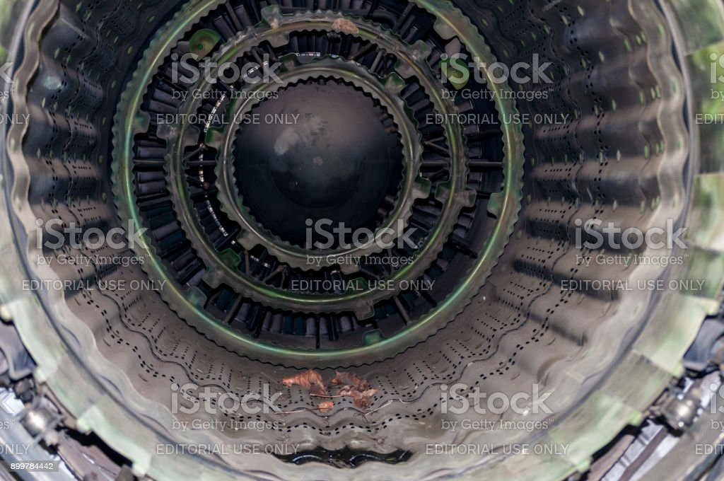 Inside a military jet engine. Mikoyan-Gurevich MiG-23MF. stock photo