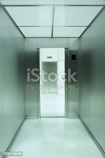 a mock up of inside and outside, opposite side from doorway of elevator