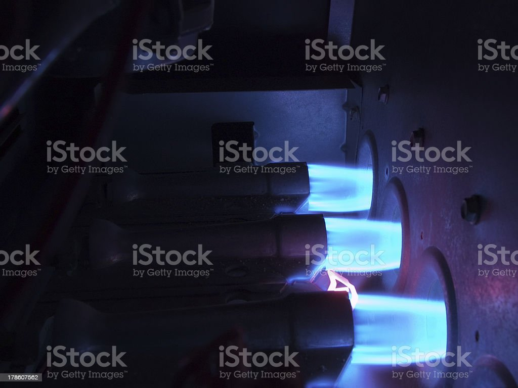 Inside a Natural Gas Furnace stock photo