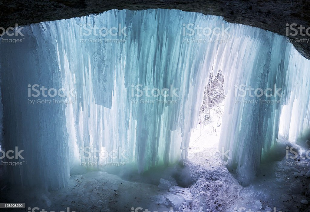 Inside a natural winter cave royalty-free stock photo