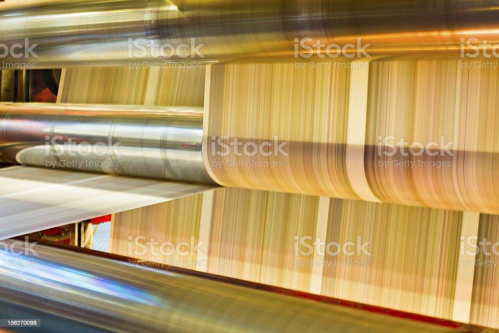 Inside a newspaper press stock photo