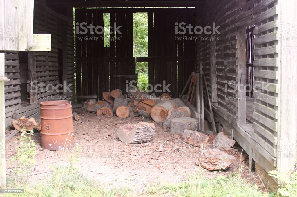 Inside a Old Barn royalty-free stock photo
