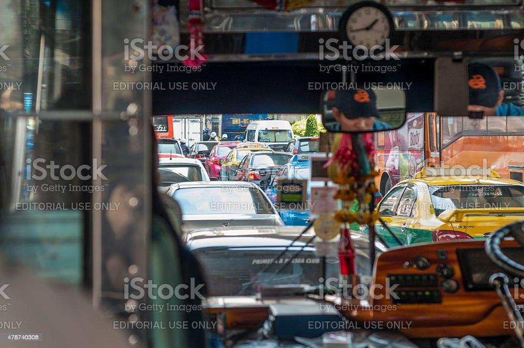 Inside A Public Bus Full Of Passengers In Bangkok, Thailand stock photo