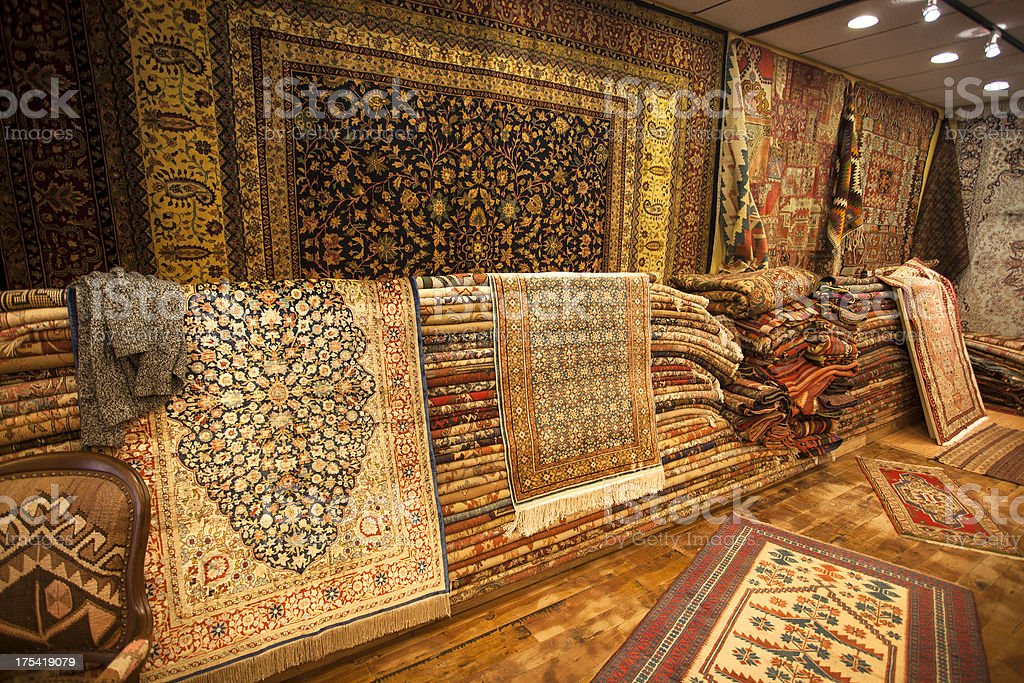 Inside a rug store royalty-free stock photo