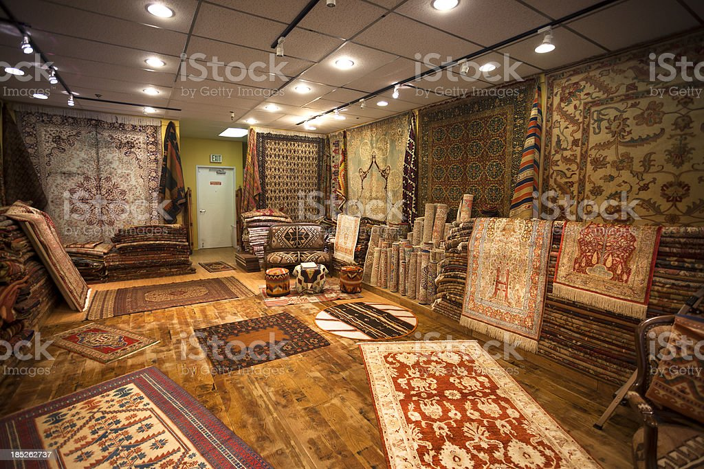Inside a rug store stock photo