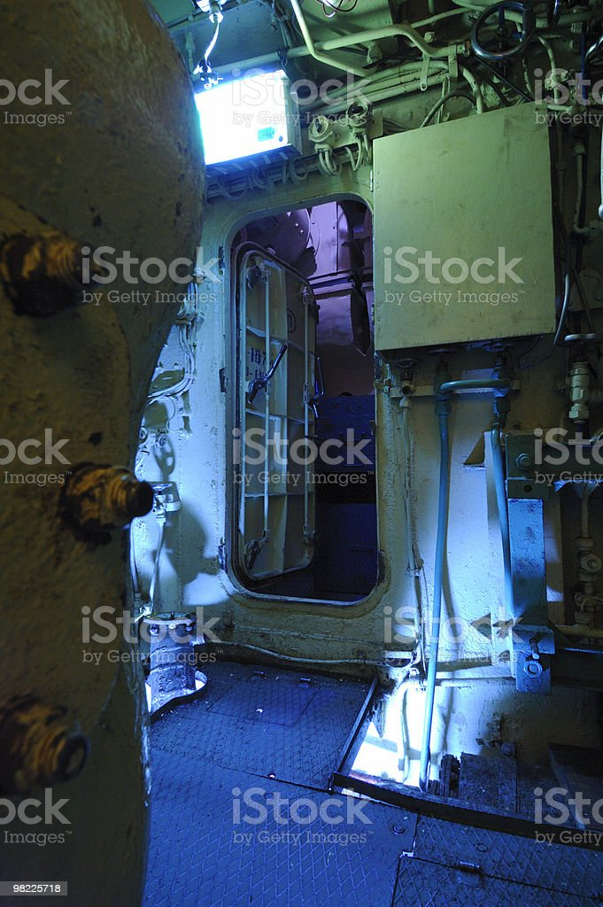 Inside a submarine royalty-free stock photo