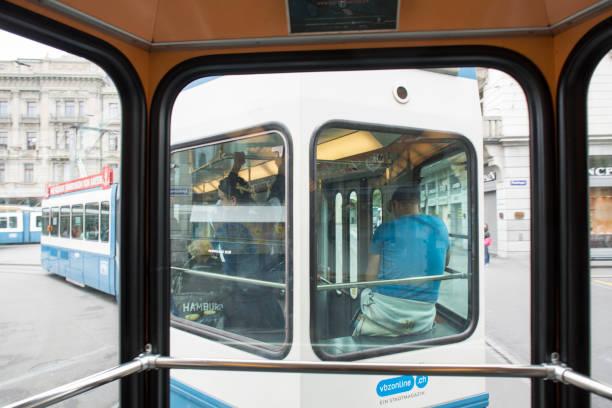 inside a tram in zürich - zurigo foto e immagini stock