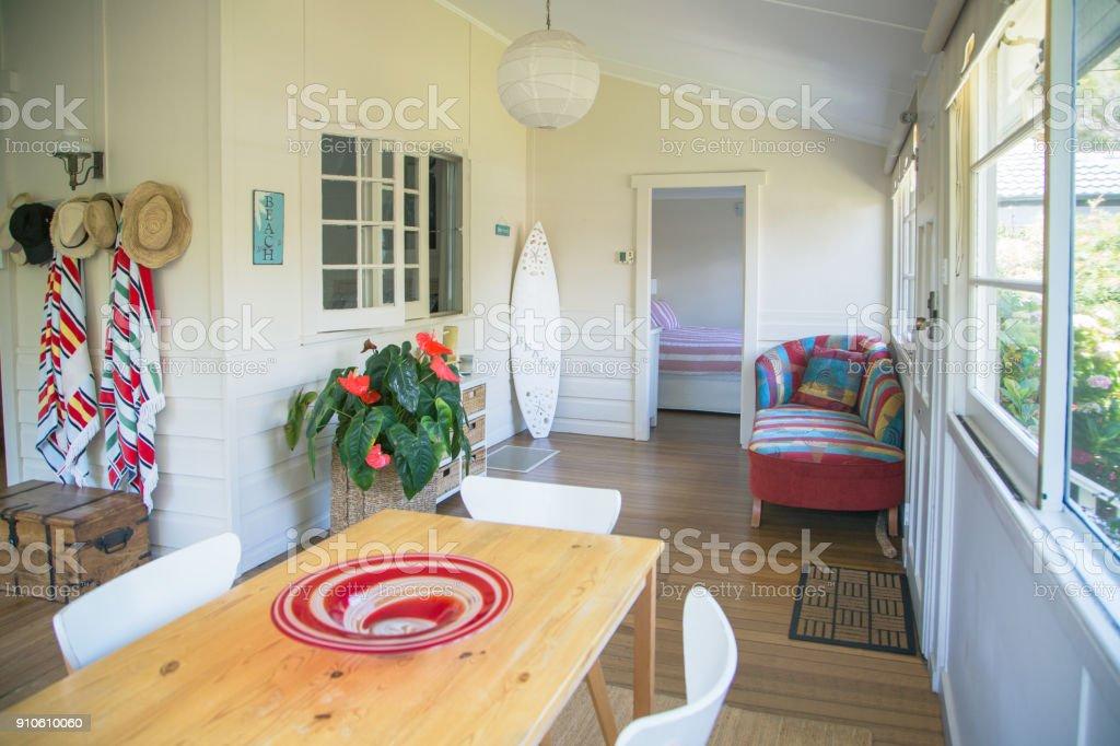 Inside a typical Australian beach house stock photo