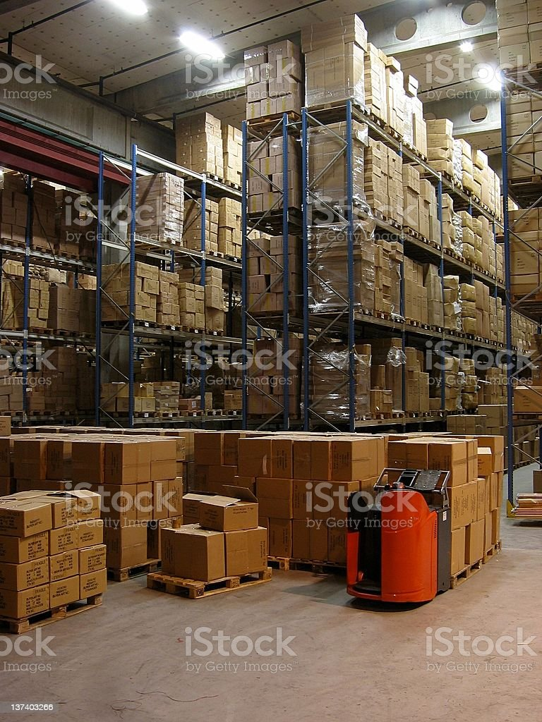 Inside a warehouse royalty-free stock photo