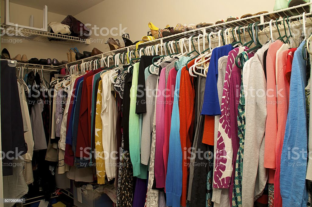 inside a woman's closet stock photo