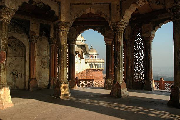 Inside Agra Fort stock photo