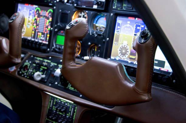 Inside airplane cabin. stock photo