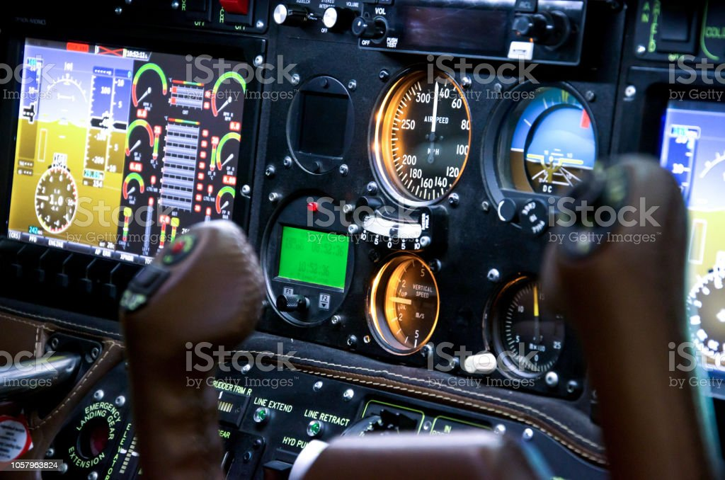 Inside airplane cabin. stock photo