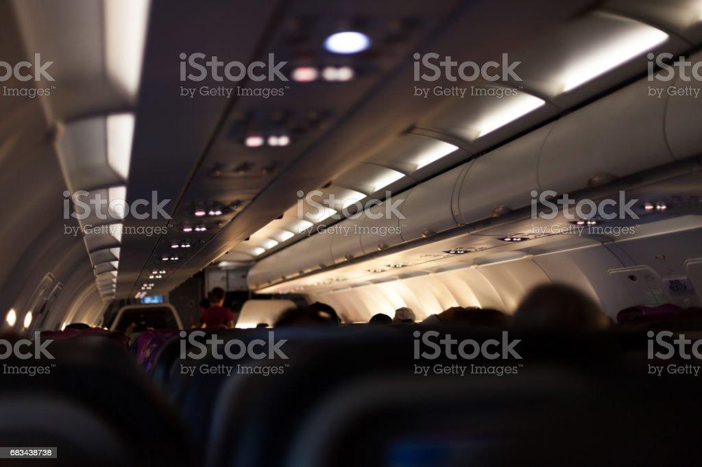 Inside Airplane Cabin stock photo