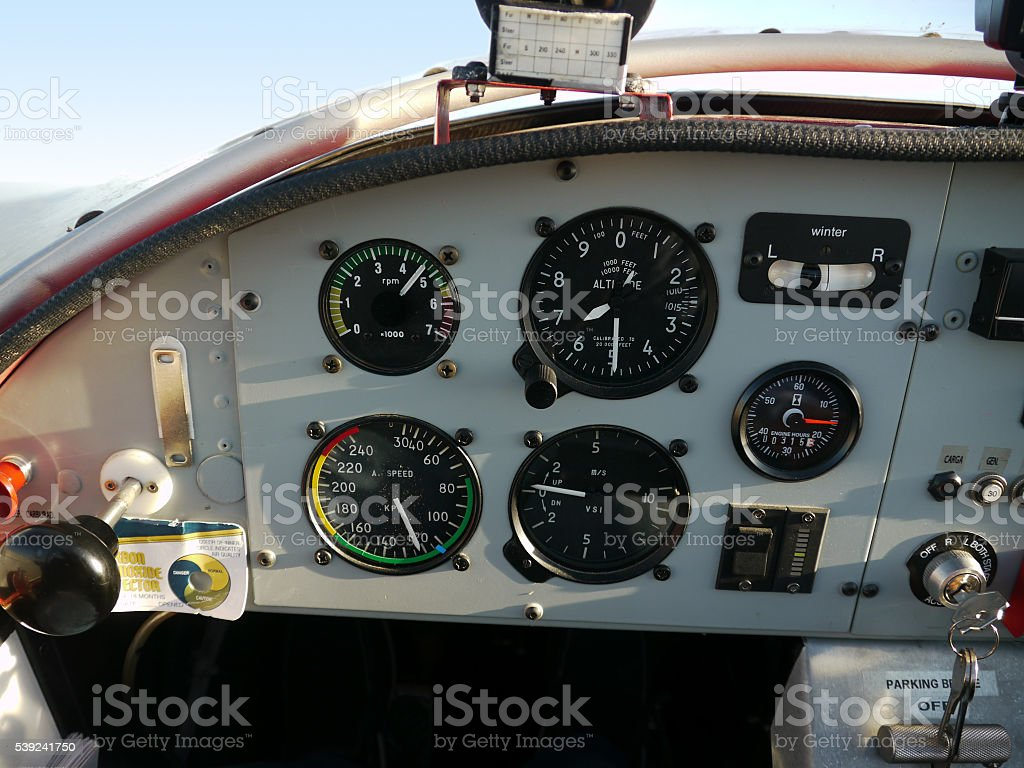 Inside airplane cockpit royalty-free stock photo