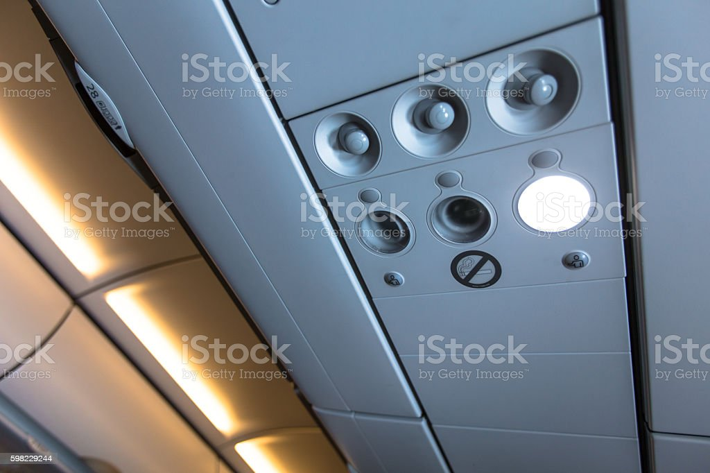 Inside airplane overhaed lugage foto royalty-free