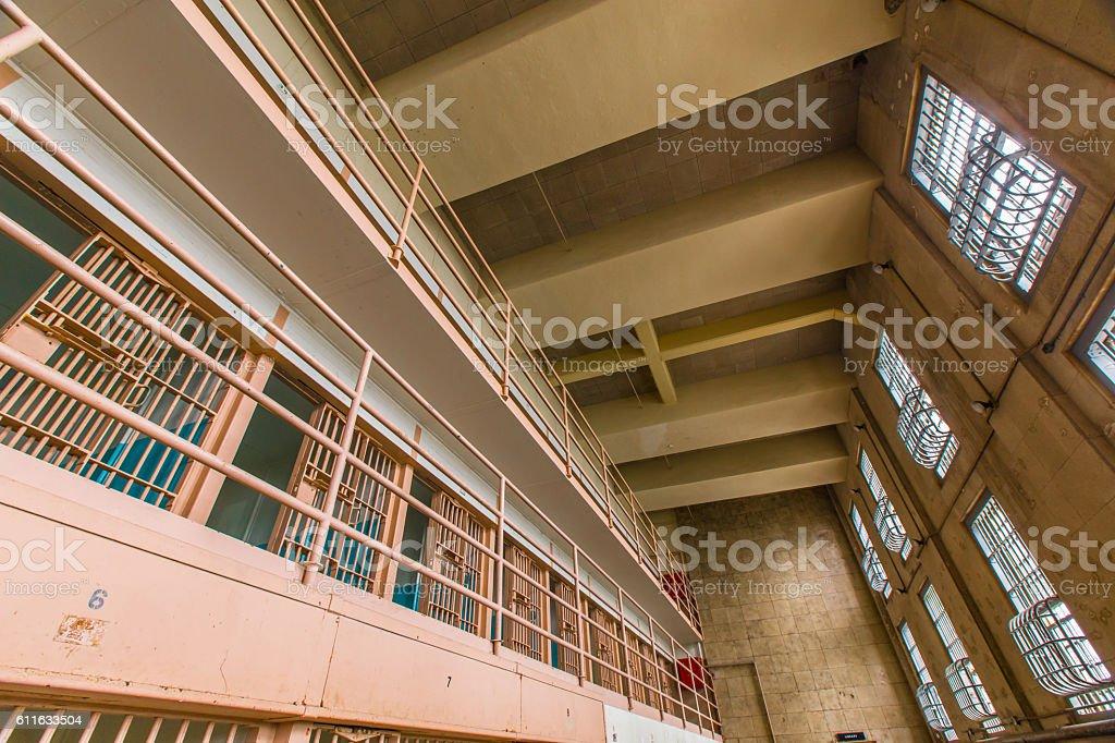 Inside Alcatraz Island prison in San Fransico CA stock photo