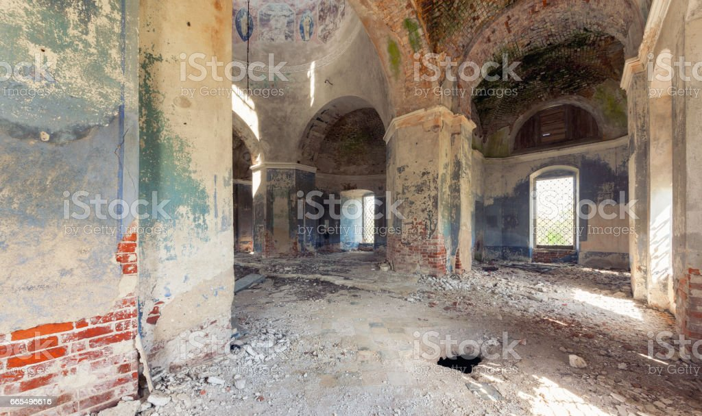 Inside an abandoned looted temple stock photo