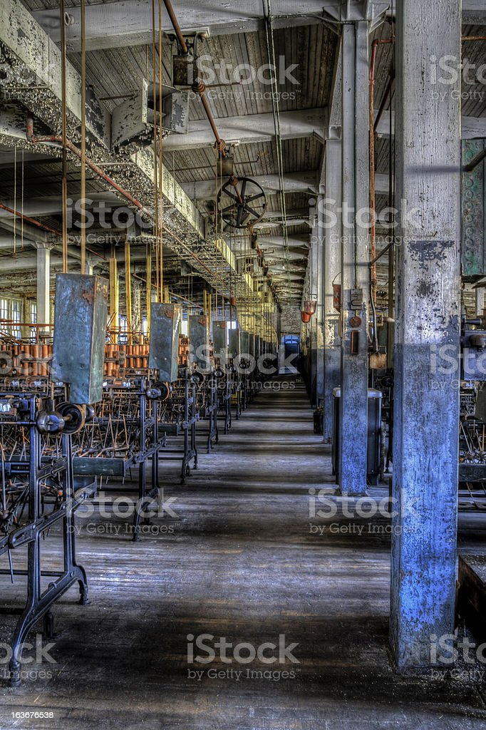 Inside an Abandoned Silk Mill With Old Machinery stock photo