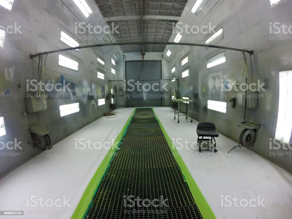 inside an aircraft automotive spray paint booth stock photo