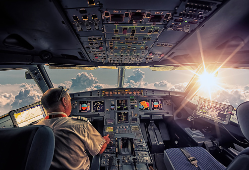 September 2016 - In The Air, French airspace - The cockpit of an Airbus A320 in flight