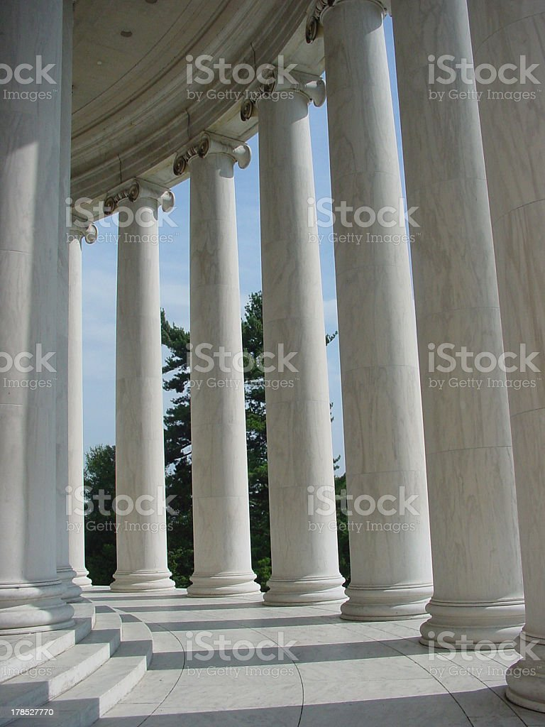 Inside an arcade of columns at Jefferson Memorial royalty-free stock photo