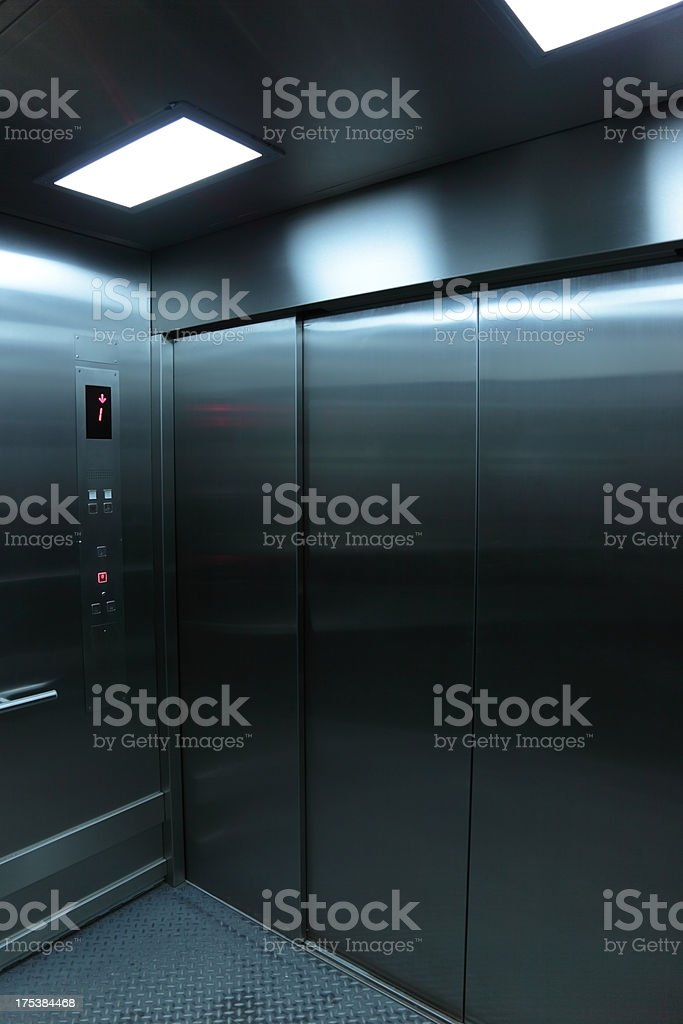 Inside an elevator stock photo