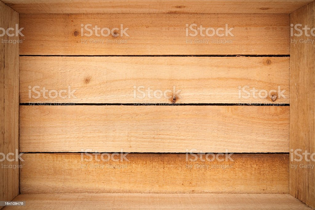 Inside an empty wooden crate royalty-free stock photo