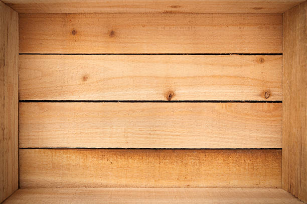 Inside an empty wooden crate stock photo