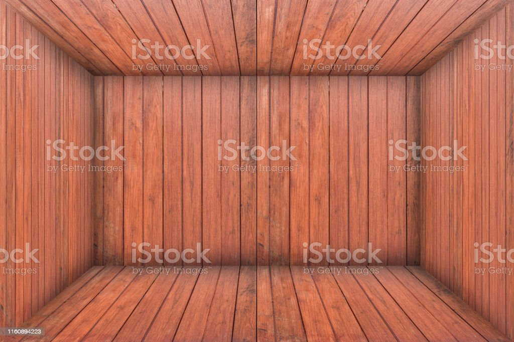 Inside an empty wooden room, wood box background. Interior vintage...