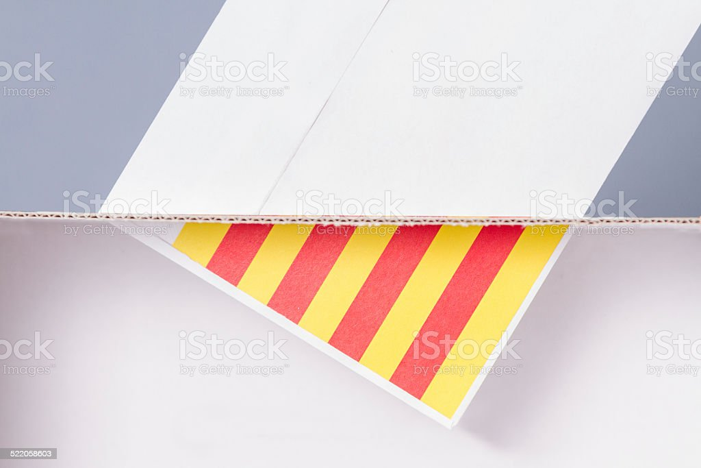 Inside and exterior voting box catalonia independence stock photo