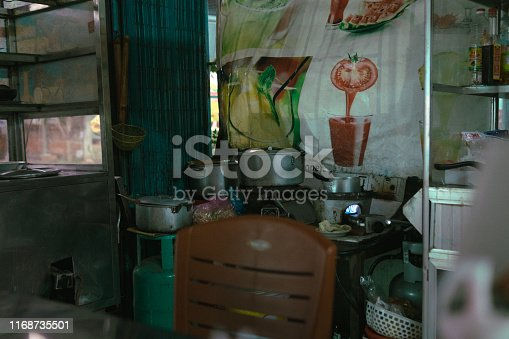 Small kitchen on the food market