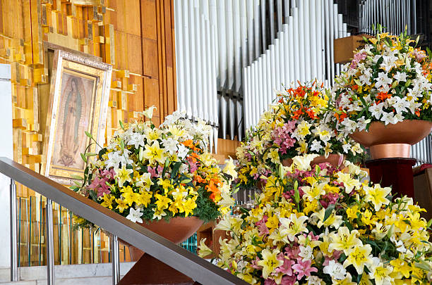inside basilica of our lady of guadalupe in mexico city - religious celebration stock photos and pictures