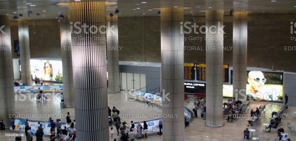 Inside Ben Gurion International Airport Arrival Hall And People Scenery In Israel stock photo