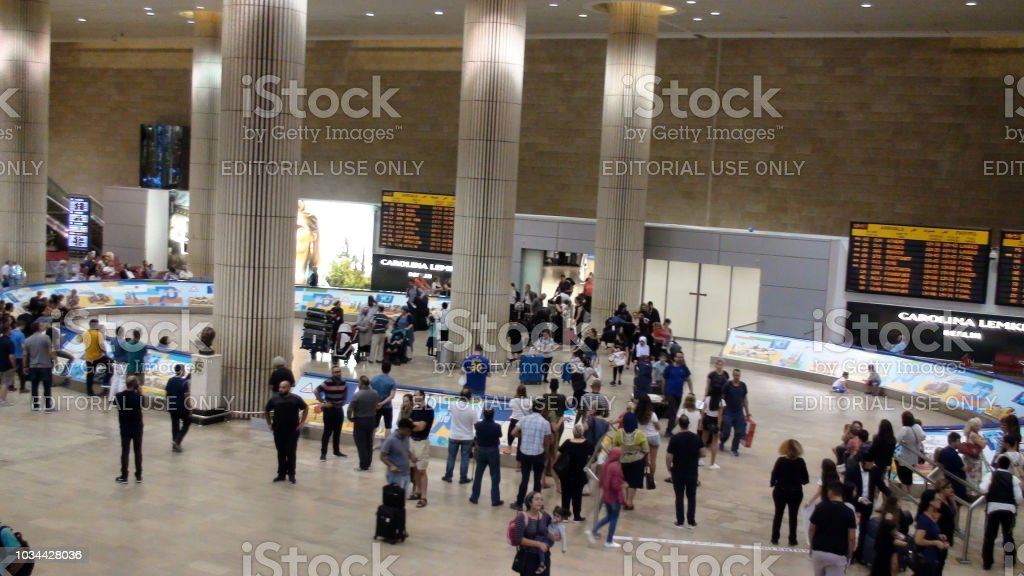 Inside Ben Gurion International Airport Arrival Hall And People Scene In Israel stock photo