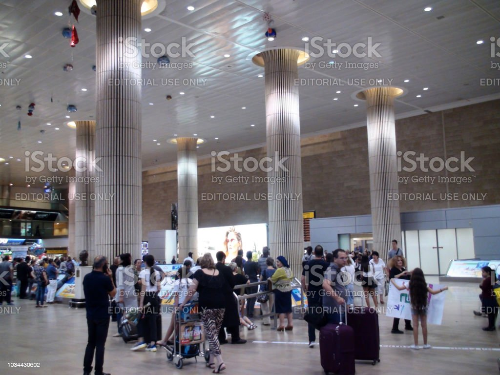 Inside Ben Gurion International Airport Arrival Hall And People View In Israel stock photo