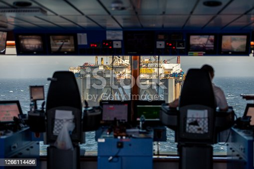 NORTH SEA UK SECTOR - 2015 MAY 11. Inside bridge of Siem Amethyst Offshore vessel. Offshore anchor handling operation with the semi-submersible drilling rig Transocean Prospect