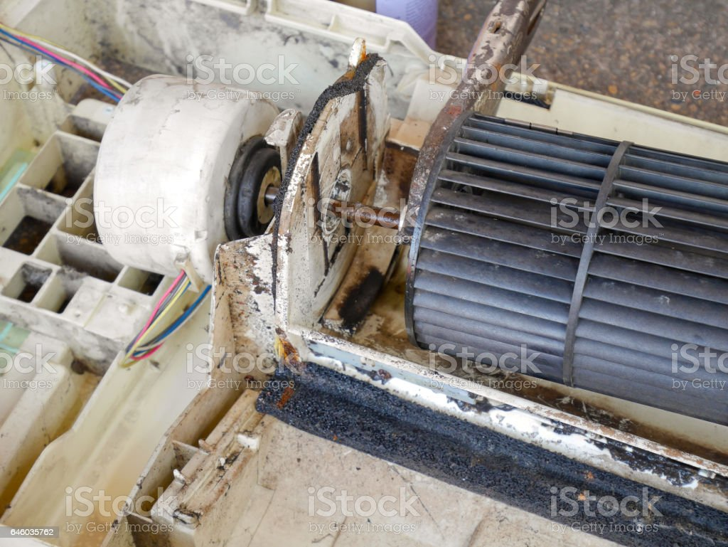 Inside broken old air conditioner stock photo