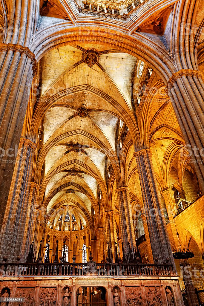 Inside Cathedral. Cathedral of the Holy Cross and Saint Eulalia....