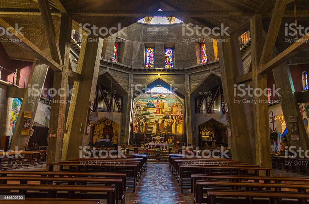 Inside Church of the Annunciation, Nazareth stock photo