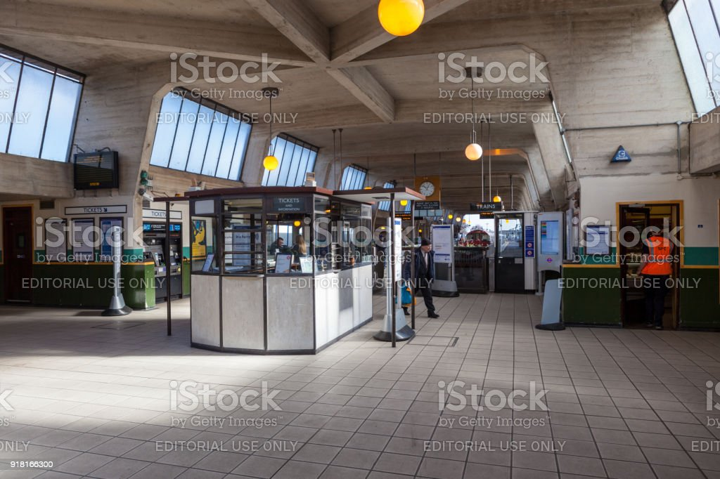 Inside Cockfosters Tube Station, London. stock photo