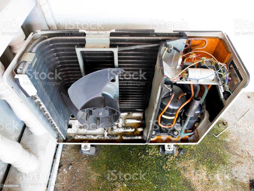 Inside condenser unit stock photo