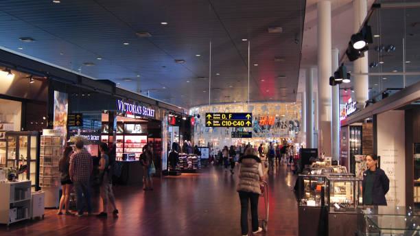 Inside Copenhagen Airport terminal, it is the main international airport stock photo