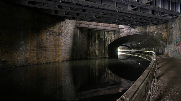 Inside Curzon Street canal tunnel. stock photo