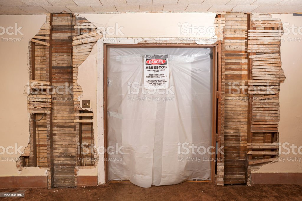 Inside Doorway is Sealed Off with Asbestos Danger Warning Sign stock photo