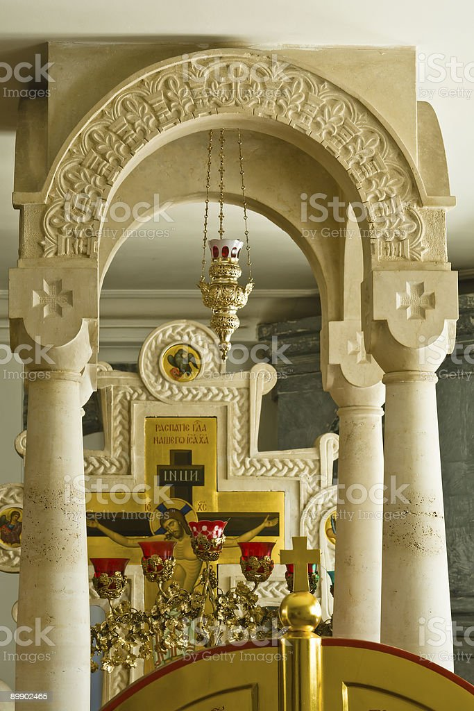 Inside Eastern Orthodox Church altar royalty-free stock photo