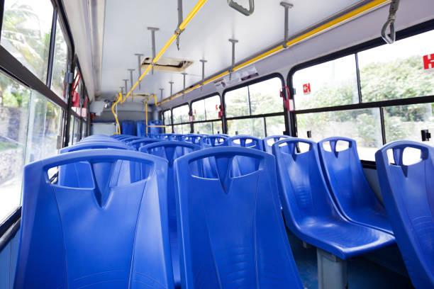 Inside empty bus stock photo